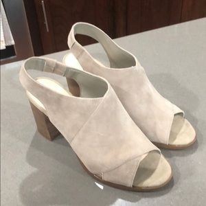 Light taupe suede sandals